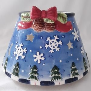 Christmas Jar Candle Topper Shade Pine Cones Snowf